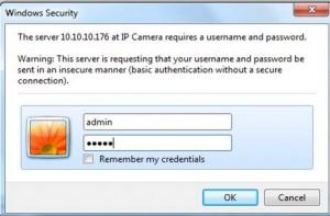 IP camera log in